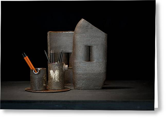 Still Life Ceramics Greeting Cards - Still Life with Pencils Greeting Card by William Sulit
