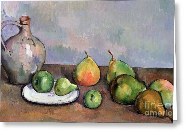 Pottery Pitcher Paintings Greeting Cards - Still Life with Pitcher and Fruit Greeting Card by Paul Cezanne