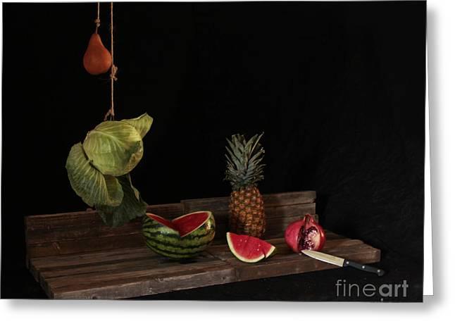 Still Life With Pomegranate Greeting Card by Joe Jake Pratt