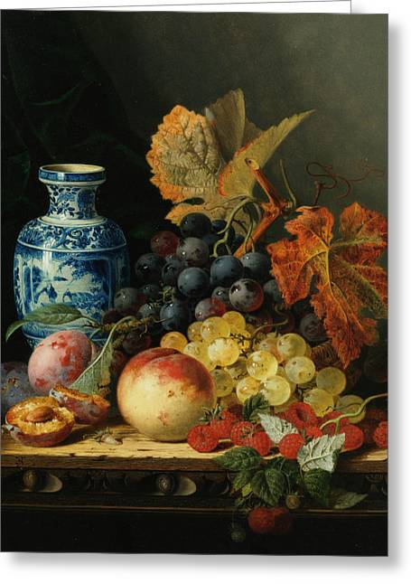 Fruit And Wine Digital Greeting Cards - Still Life With Rasberries Greeting Card by Edward Ladell