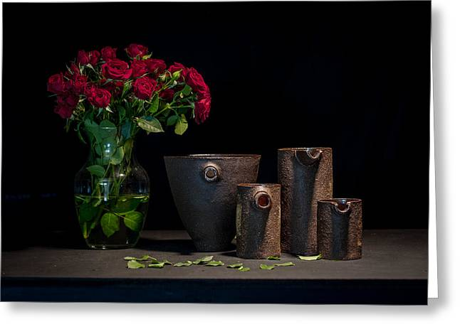 Still Life Ceramics Greeting Cards - Still Life with Roses Greeting Card by William Sulit
