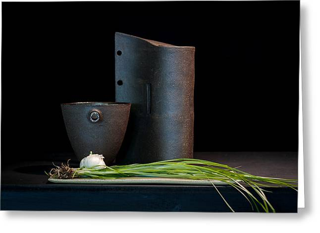 Still Life Ceramics Greeting Cards - Still Life with Shallots Greeting Card by William Sulit