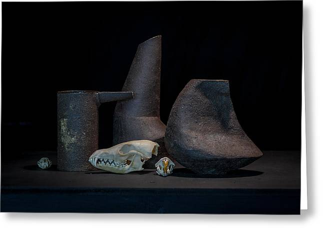 Still Life Ceramics Greeting Cards - Still Life with Skulls Greeting Card by William Sulit