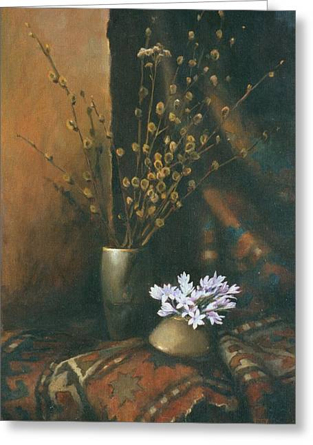 Date Greeting Cards - Still-life with snow drops Greeting Card by Tigran Ghulyan