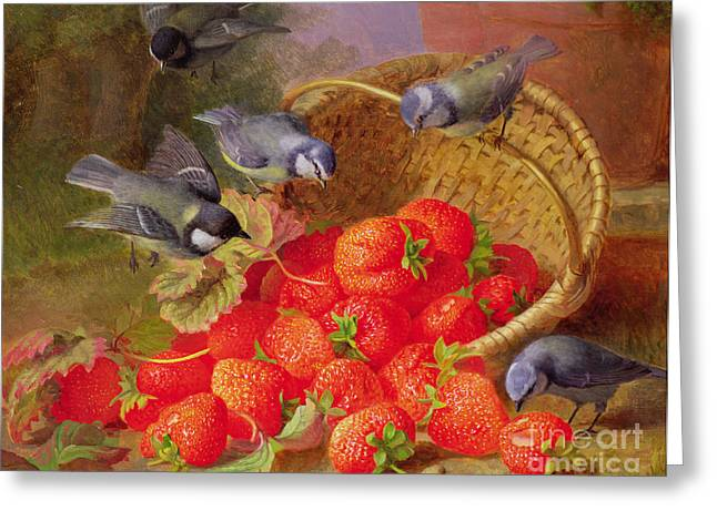 Basket Pot Greeting Cards - Still Life with Strawberries and Bluetits Greeting Card by Eloise Harriet Stannard