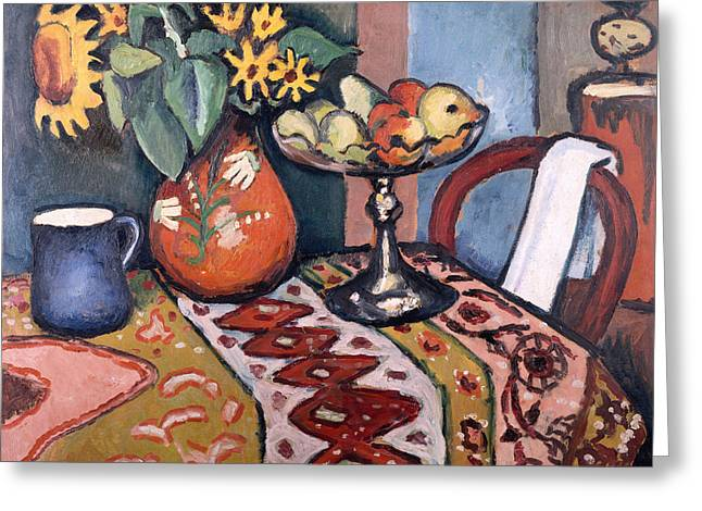 Still Life With Sunflowers II Greeting Card by August Macke