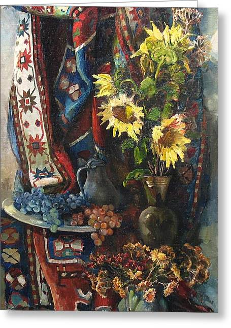 Realistic Greeting Cards - Still-life with sunflowers Greeting Card by Tigran Ghulyan