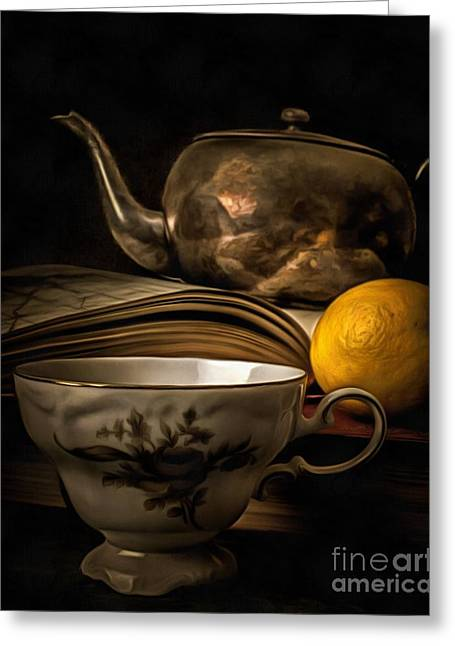 Tea Cup Greeting Cards - Still Life with Tea Cup Greeting Card by Edward Fielding