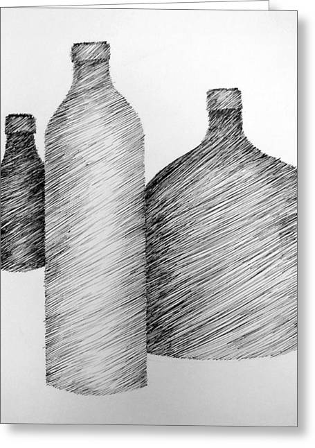 Hatching Greeting Cards - Still Life with Three Bottles Greeting Card by Michelle Calkins