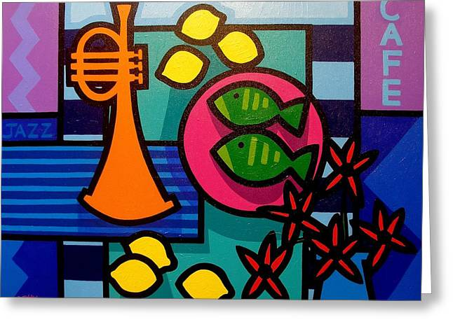 Canvas Wine Prints Greeting Cards - Still Life With Trumpet Greeting Card by John  Nolan