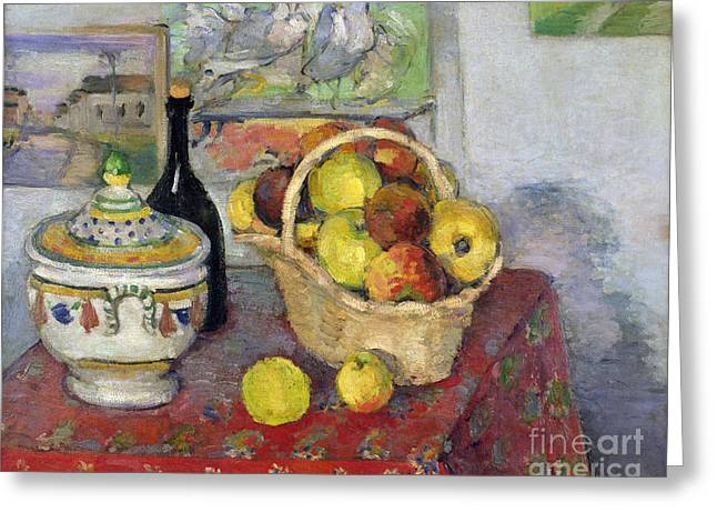 Still Life With Fruit Greeting Cards - Still Life with Tureen Greeting Card by Paul Cezanne