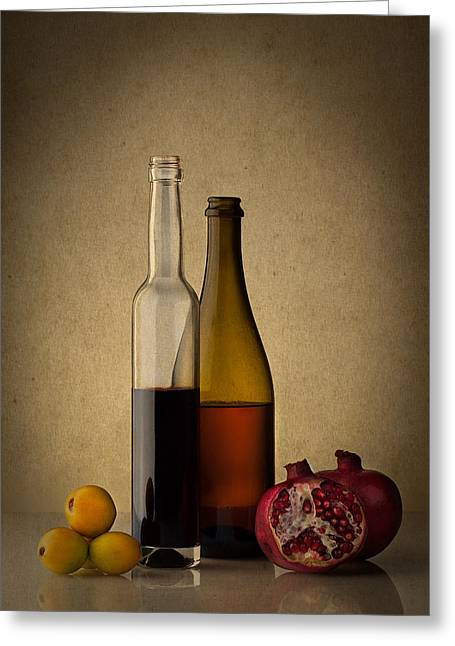 Fruit And Wine Greeting Cards - Still life with two wine bottles and fruits Greeting Card by Greg Brave