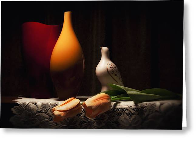 Still Life With Vases And Tulips Greeting Card by Tom Mc Nemar