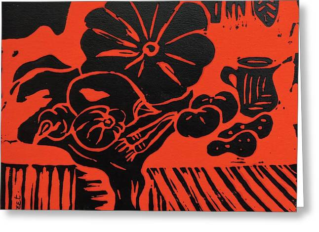 Still Life With Veg And Utensils Black On Red Greeting Card by Caroline Street
