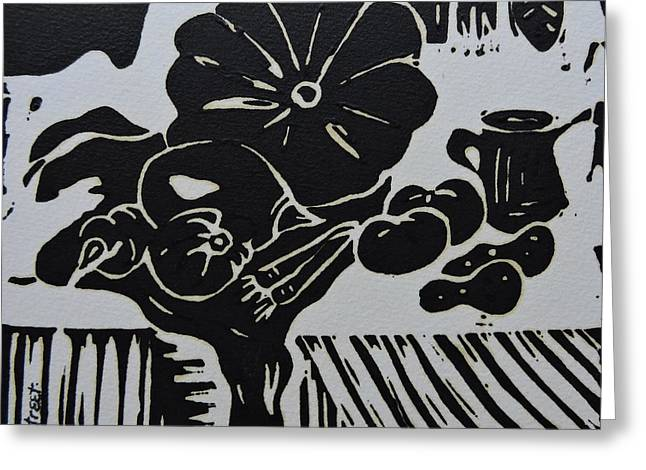 Still-life With Veg And Utensils Black On White Greeting Card by Caroline Street