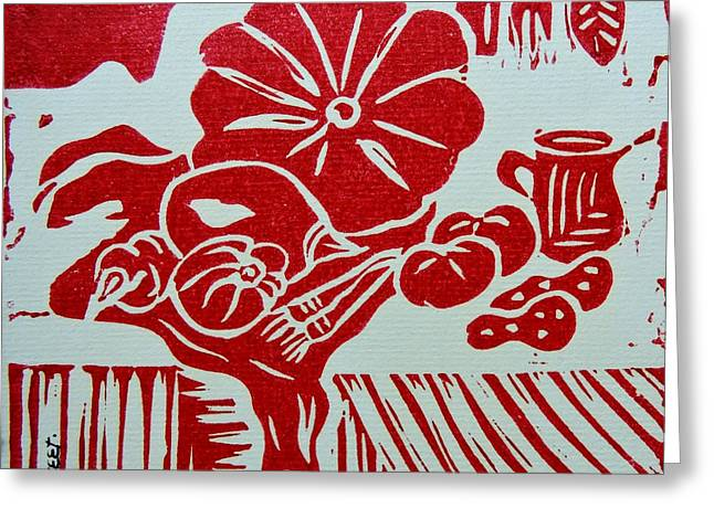 Still Life With Veg And Utensils Red On White Greeting Card by Caroline Street