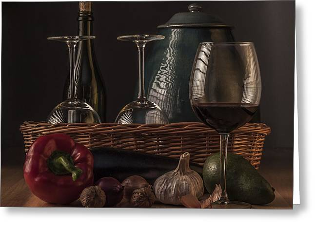 Menu Greeting Cards - Still Life with Vegetables and Glass of Wine Greeting Card by Julis Simo