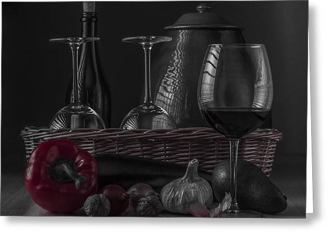 Menu Greeting Cards - Still Life with Vegetables and Glass of Wine with Red Accent Greeting Card by Julis Simo