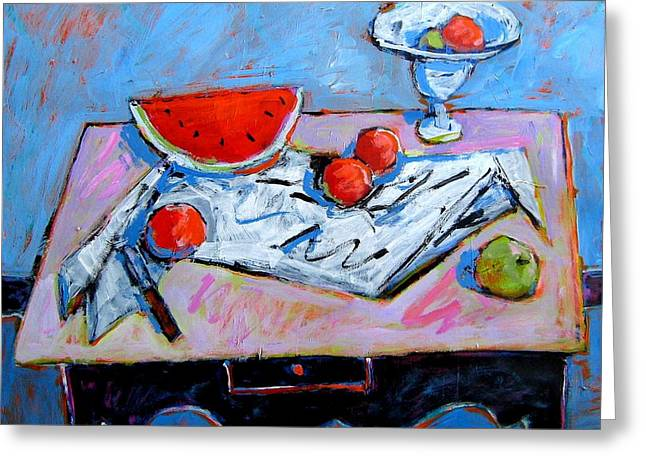 Interior Still Life Paintings Greeting Cards - Still Life with Watermelon Greeting Card by Jim Flanagan