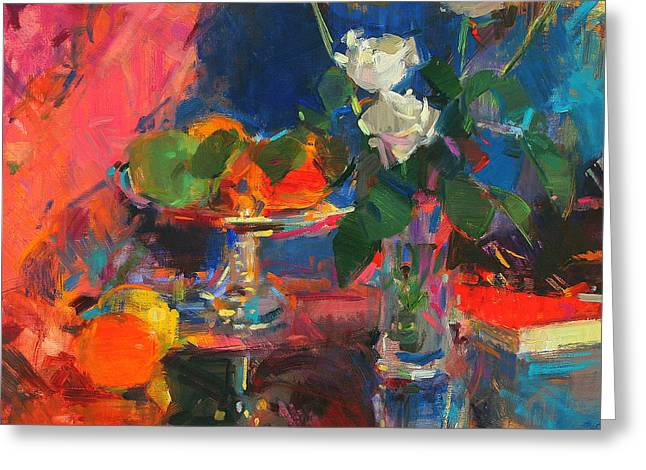 Still Life With White Roses Greeting Card by Peter Graham