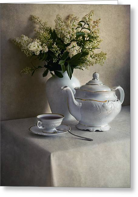 White Cloth Greeting Cards - Still life with white tea set and bouquet of white flowers Greeting Card by Jaroslaw Blaminsky