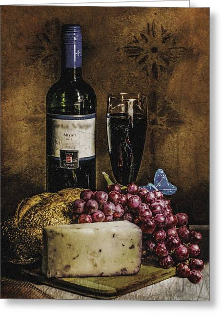 Blue Grapes Photographs Greeting Cards - Still life with wine and cheese Greeting Card by Maritza Hernandez