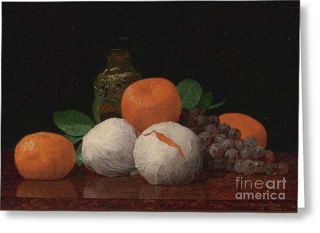 Still Life With Wrapped Tangerines Greeting Card by Celestial Images