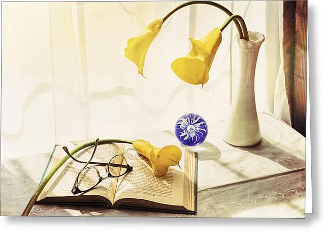Still Life - Yellow Calla Lilies Greeting Card by Jon Woodhams