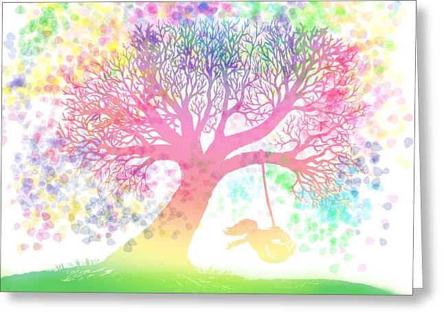 Rainbow Fantasy Art Greeting Cards - Still more rainbow tree dreams 2 Greeting Card by Nick Gustafson