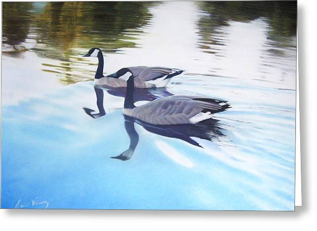 Geese Pastels Greeting Cards - Still Motion Greeting Card by David Vincenzi