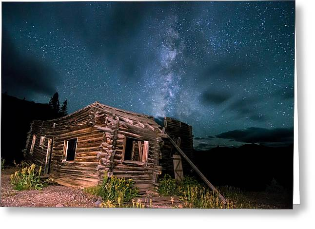 Still Night At Old Cabin Greeting Card by Michael J Bauer