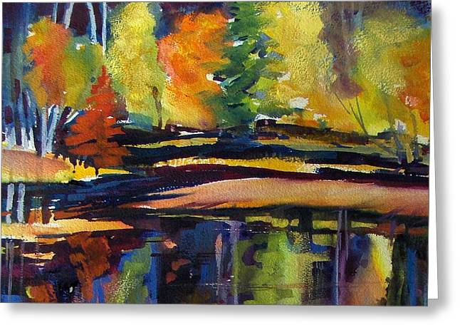 Best Sellers -  - Trees Reflecting In Water Greeting Cards - Still Reflections of Autumn SOLD Greeting Card by Therese Fowler-Bailey