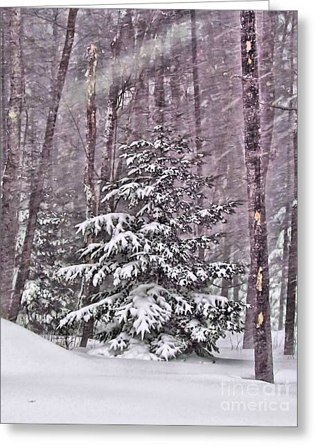 Winter Storm Greeting Cards - Still Standing Tall Greeting Card by Elizabeth Dow