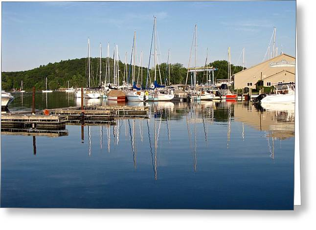 Sailboats In Harbor Greeting Cards - Still Water at Sunrise Greeting Card by Jane Greiner