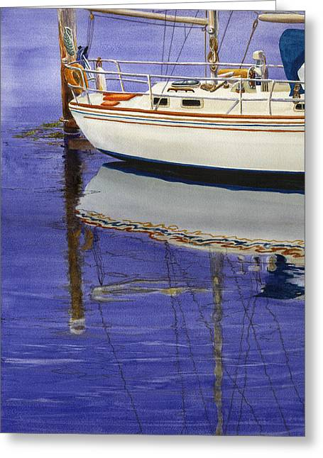 Sailboat Ocean Greeting Cards - Still Water Greeting Card by Karen Wright