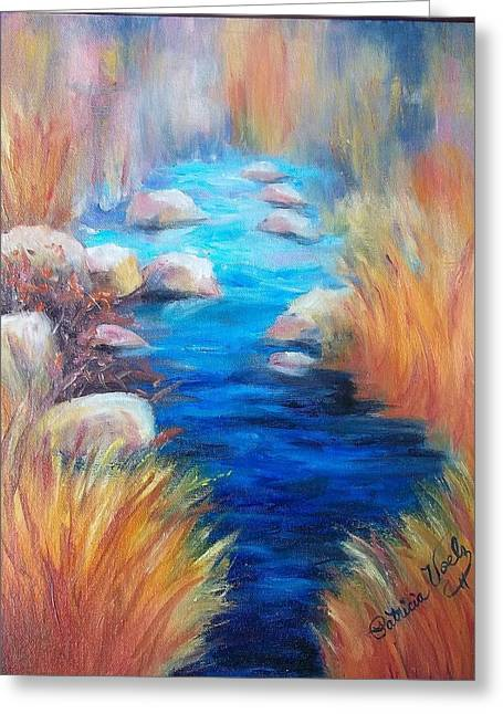 Light Blue Tapestries - Textiles Greeting Cards - Still Waters Run Deep Greeting Card by Patricia Voelz