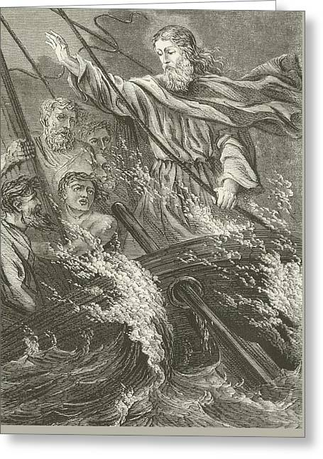 Storm Drawings Greeting Cards - Stilling the tempest  Greeting Card by English School