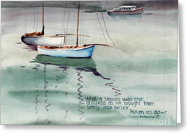 Boats In Harbor Greeting Cards - Stillness Greeting Card by Jeanne McMenimen