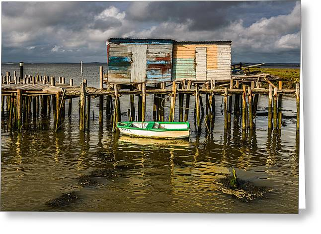 Wooden Ship Greeting Cards - Stilt Houses In Historic Pier I Greeting Card by Marco Oliveira