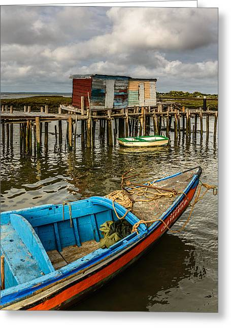 Wooden Ship Greeting Cards - Stilt Houses In Historic Pier II Greeting Card by Marco Oliveira