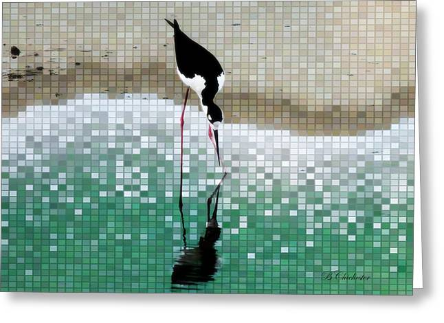 And Sand-mix Greeting Cards - Stilts Mosaic Reflection Greeting Card by Barbara Chichester