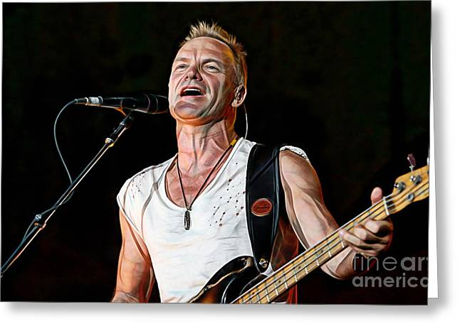 Police Mixed Media Greeting Cards - Sting Collection Greeting Card by Marvin Blaine