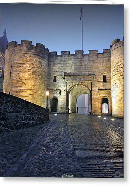Moonlit Greeting Cards - Stirling Castle Scotland in a misty night Greeting Card by Christine Till