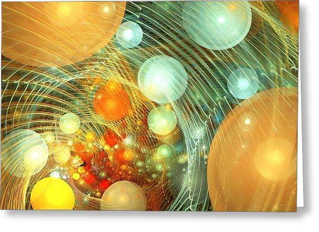 Green Abstract Greeting Cards - Stirred Up Universe Greeting Card by Anastasiya Malakhova
