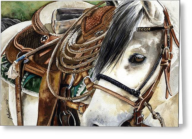 Leather Greeting Cards - Stirrup Up Greeting Card by Nadi Spencer