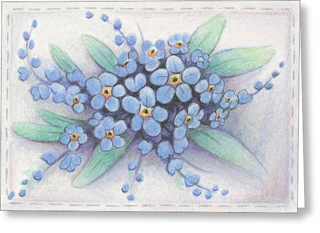 Blue Flowers Drawings Greeting Cards - Stitched Forget-Me-Nots Greeting Card by Amy S Turner