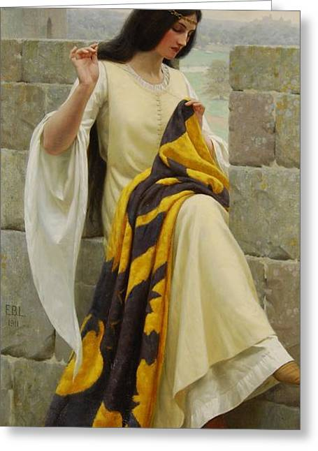Stitching The Standard Greeting Card by Edmund Blair Leighton