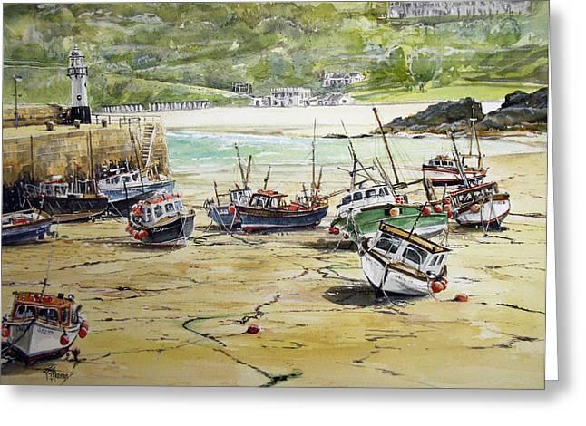 St.ives Harbour Low Tide Cornwall Greeting Card by Keran Sunaski Gilmore