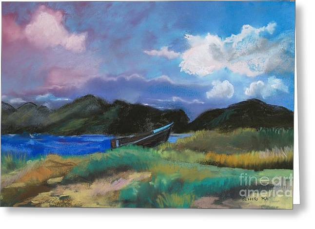 Row Pastels Greeting Cards - St. Kitts Row Boat Greeting Card by Robin Maria  Pedrero