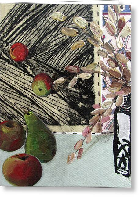 Linocut Mixed Media Greeting Cards - Stll life with pear apples and vase Greeting Card by Peter Allan